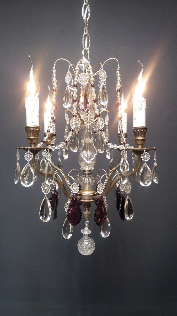 """silver Metal Chandelier With 4 Lights"""