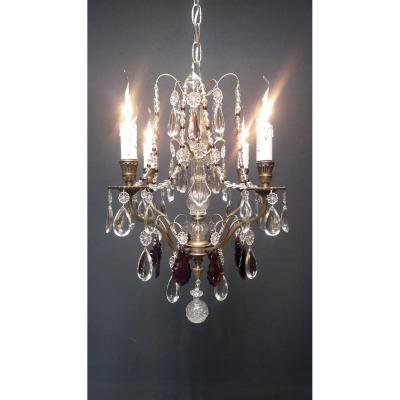 """""""silver Metal Chandelier With 4 Lights"""""""
