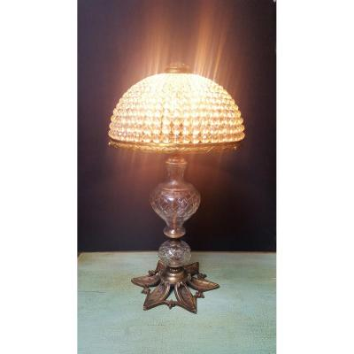 Bronze And Crystal Lamp