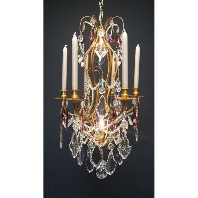 French Chandelier With 2 Luminous Points And 6 Candles.