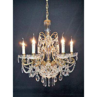 Bright 7 Point Spanish Chandelier, Full Of Crystals