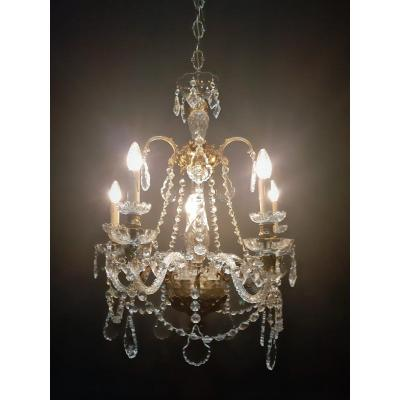 Exceptional Bronze Chandelier With Crystal, 1920 Flag