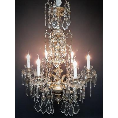 Exceptional Chandelier With 6 Bronze Luminous Points