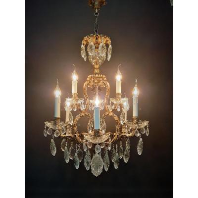 Spanish Chandelier With 9 Bronze Luminous Points