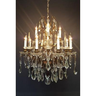 French Chandelier With 12 Bright Points And 8 Pinnacles