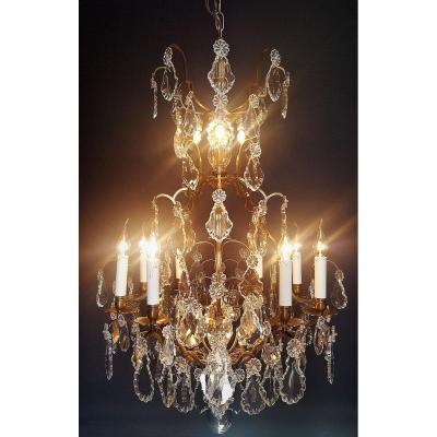 Beautiful Chandelier Cage Bronze And Crystal