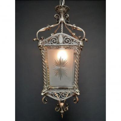 Superbe Lanterne En Bronze Argenté Antique
