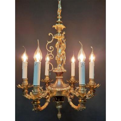 Lustre En Bronze De Style Empire, 6 Lampes