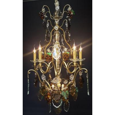 French Fruit Chandelier With 9 Light Points