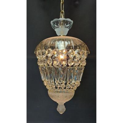 Lampe De Hall En Cristal Avec 1 Point Lumineux.