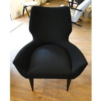 Vintage Italian Black Armchair, 1960