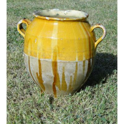 Grande  Poterie Antique Pot à Confit , Pot à Graisse Jaune