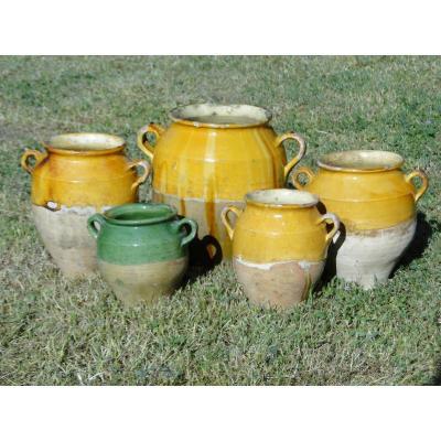 Pot à Graisse, Pot à Confit. Poterie Ancienne  Jaune France.