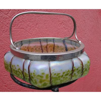 Johann Loetz Cup Iridescent Glass Metal Frame Austria Art Nouveau 1900