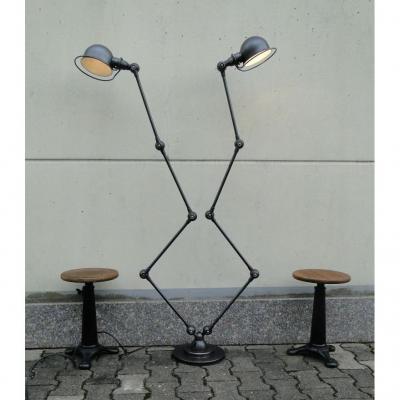 Jielde Vintage Industrial Graphite Double Lamp 2 X 4 Arms By Jean Louis Domecq France