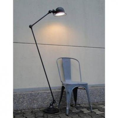 Jielde Vintage Industrial Graphite Lamp 2 Arms (120 Cm + 40 Cm) From Jean Louis Domecq France