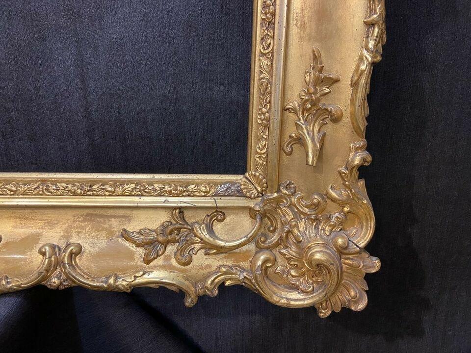 Cadre Ancien Vers 1850, Avec De l'Or Véritable, Style Baroque-photo-2