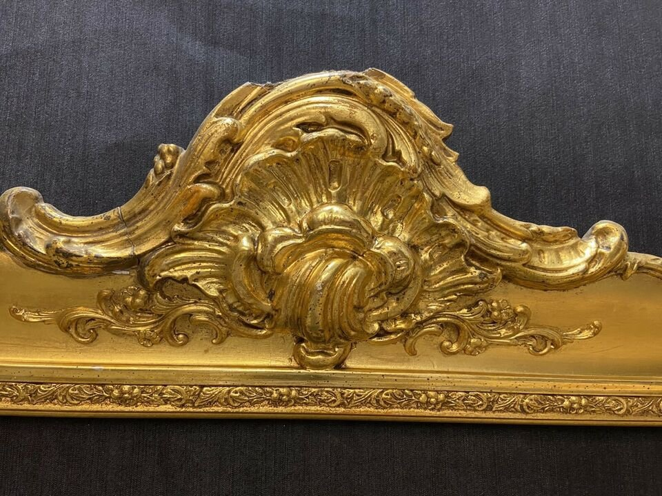 Cadre Ancien Vers 1850, Avec De l'Or Véritable, Style Baroque-photo-3