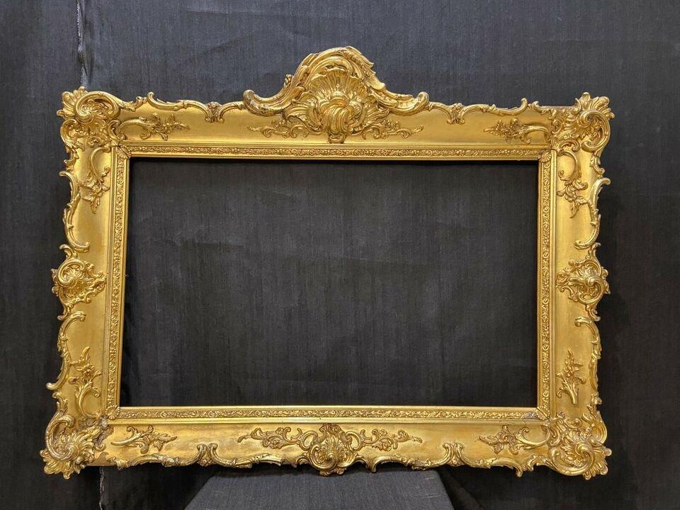 Cadre Ancien Vers 1850, Avec De l'Or Véritable, Style Baroque