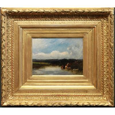 Dupre, Leon-victor *1816-1879 -barbizon- Paysage Fluvial