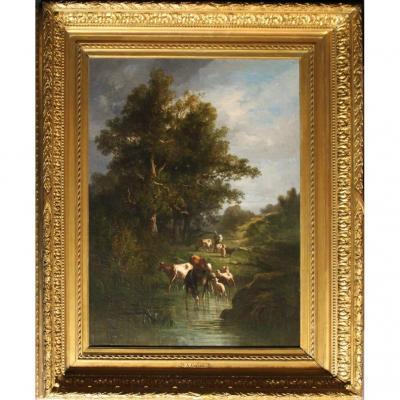 Cortes, André 1815 - 1880 Barbizon Peintre «paysage Aux Animaux» SignÉ