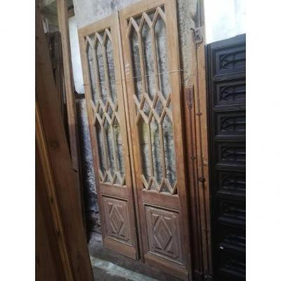 Pair Of Glass Doors With Cross Bars