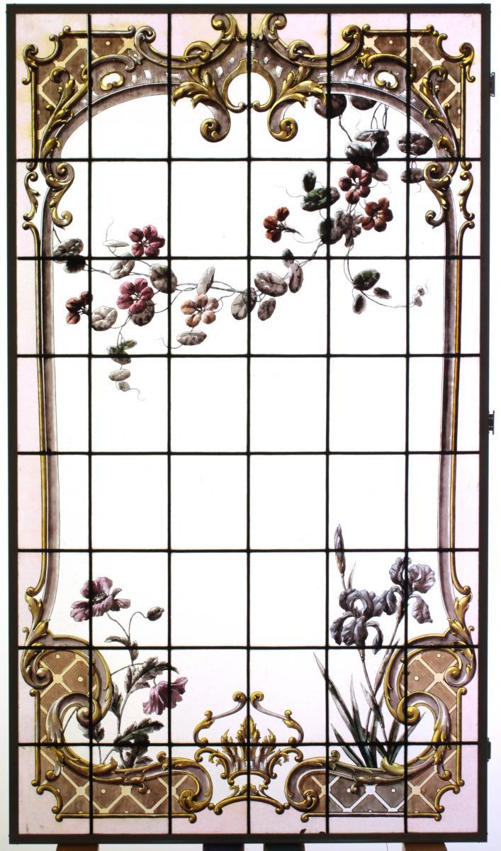 Vitrail - Vitraux - Végétations aux iris, pavot et capucine
