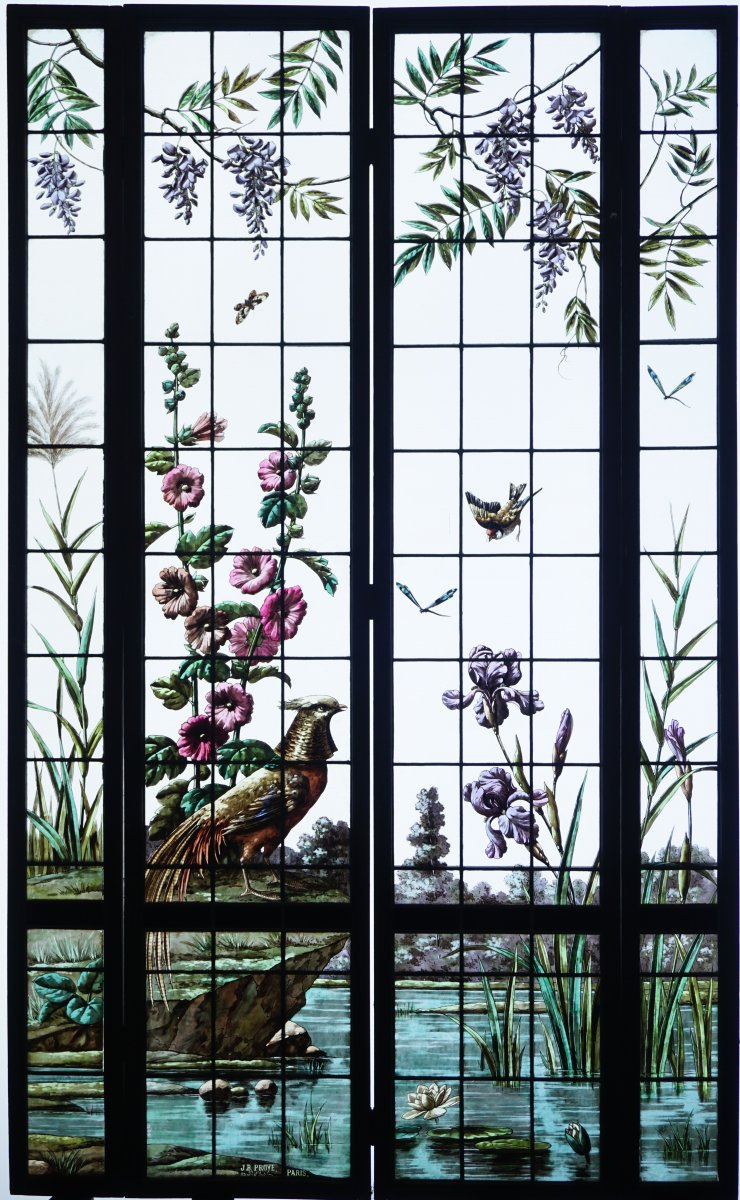 Stained Glass- Vegetation With A Golden Pheasant