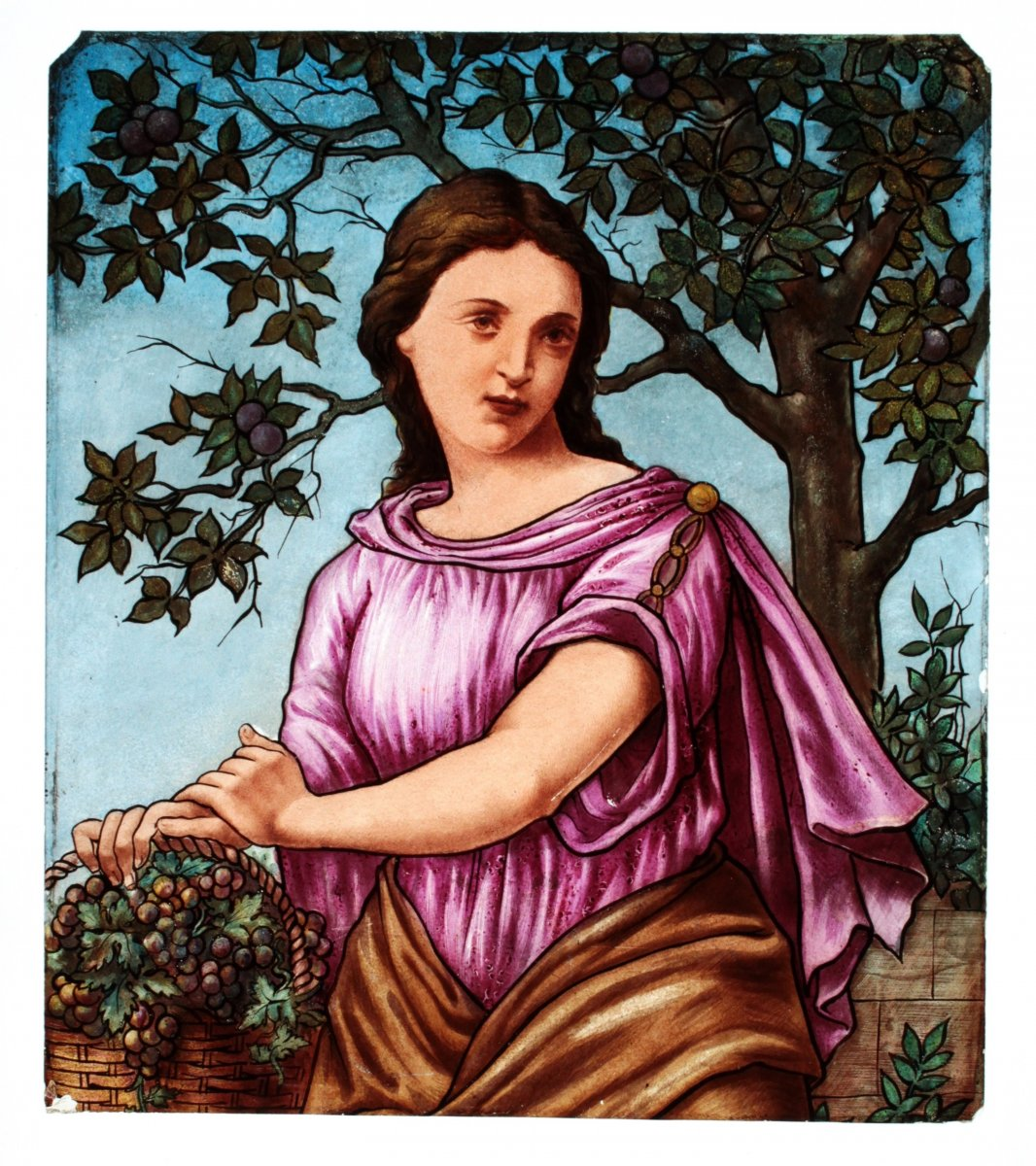 This stained glass was realized on a clear glass&nbsp; painted with &quot;grisaille&quot; and colored enamels and then fired.<br />