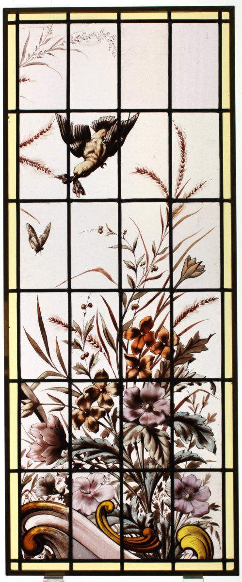 Stained Glass -  Bird, Buterfly And Flowers
