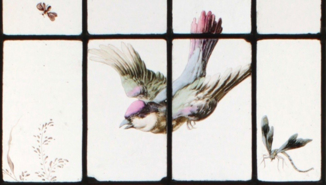 Stained Glass -  Vegetation With Birds-photo-2