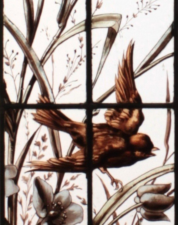 Stained Glass -  Vegetation With Birds-photo-3