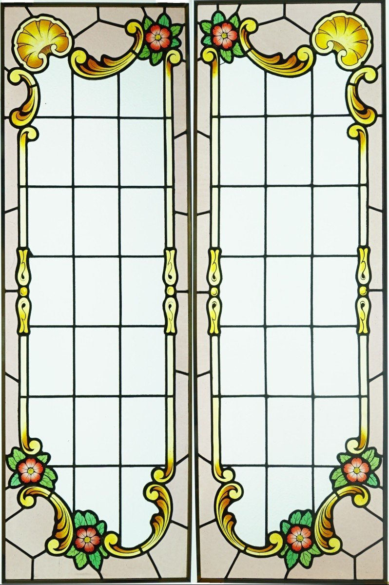 Stained Glass -  - Decor With Red Flowers