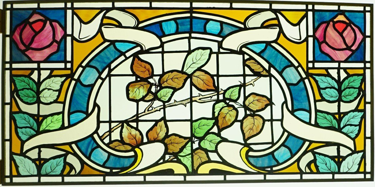 Stained Glass - Stained Glass - Roses Art Nouveau / Art Deco