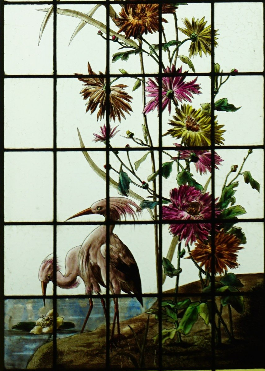 Stained Glass - Stained Glass - Sunflowers, Dahlias And Birds-photo-2