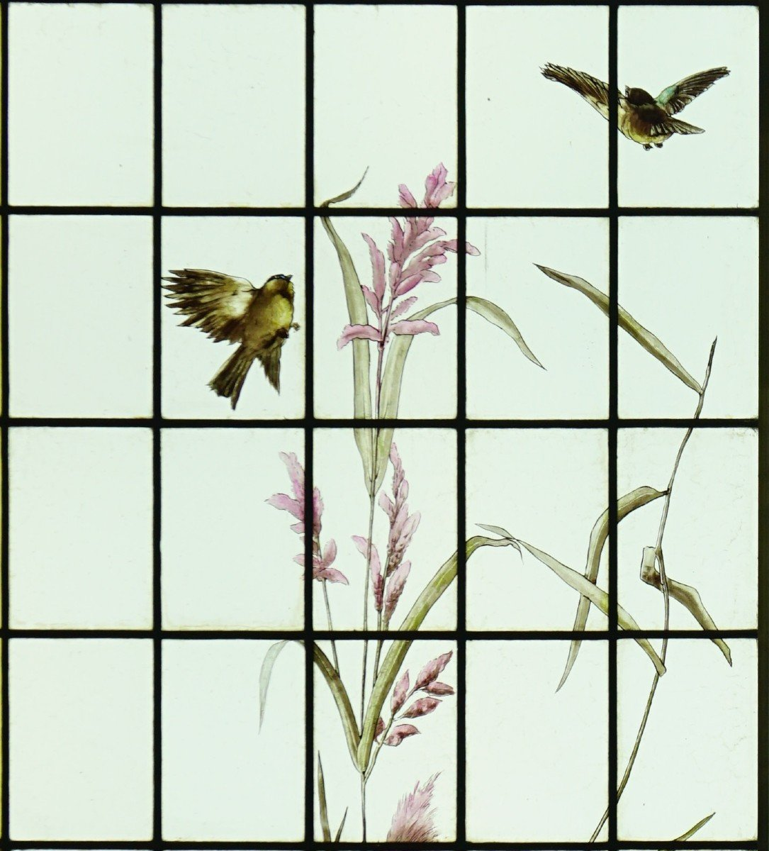 Stained Glass - Stained Glass - Sunflowers, Dahlias And Birds-photo-3