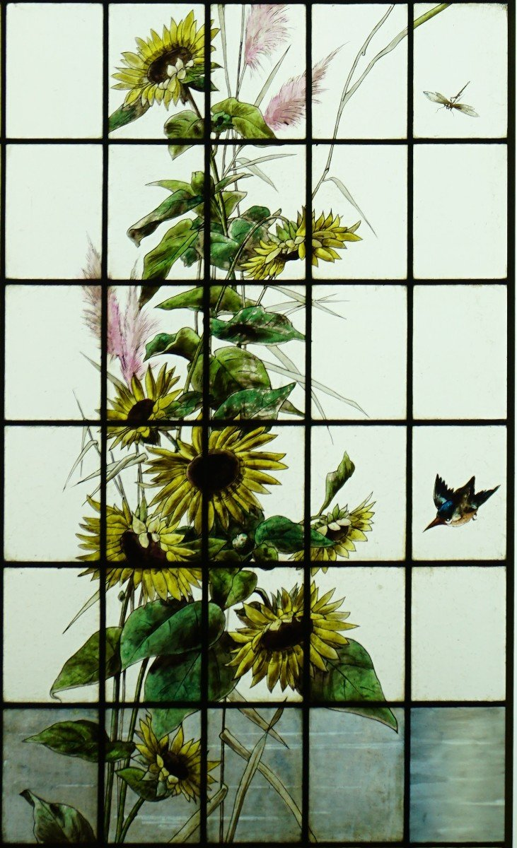 Stained Glass - Stained Glass - Sunflowers, Dahlias And Birds-photo-4