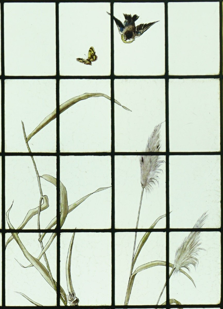 Stained Glass - Stained Glass - Sunflowers, Dahlias And Birds-photo-1