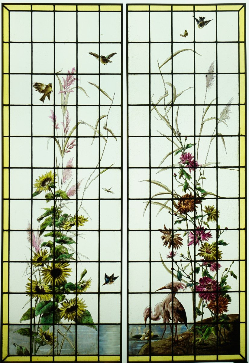 Stained Glass - Stained Glass - Sunflowers, Dahlias And Birds