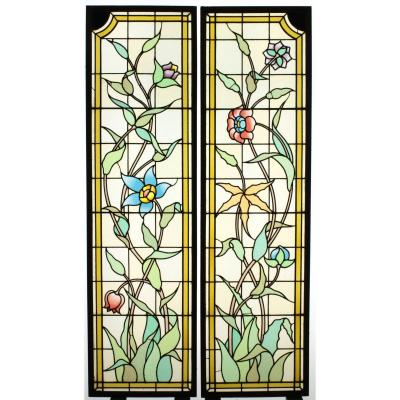 Stained Glass - Blue And Red Flowers