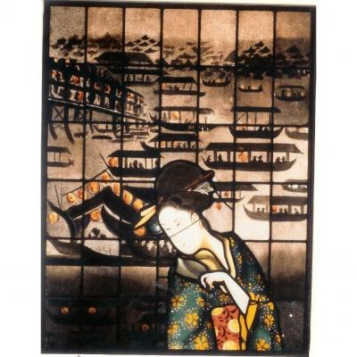 Stained Glass Panel-asian Harbor And A Girl