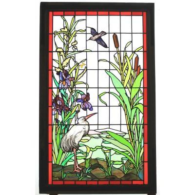 Stained Glass-bird, Iris And Rush