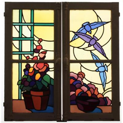 Vitrail - Vitraux-fleurs Et Oiseaux