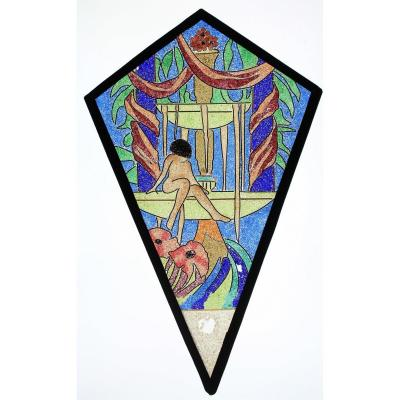 Stained Glass -  Woman Sitting On A Fountain