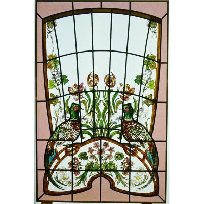 Stained Glass - Pheasants In A Flower Decor