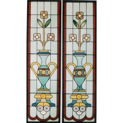 Vitrail - Vitraux - Vases Et Fleurs Stylisés