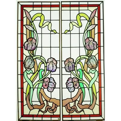 Vitrail - Vitraux - Art Nouveau Aux Iris