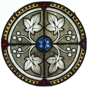 Stained Glass - Decor Of Flower, Leaves And Fruits