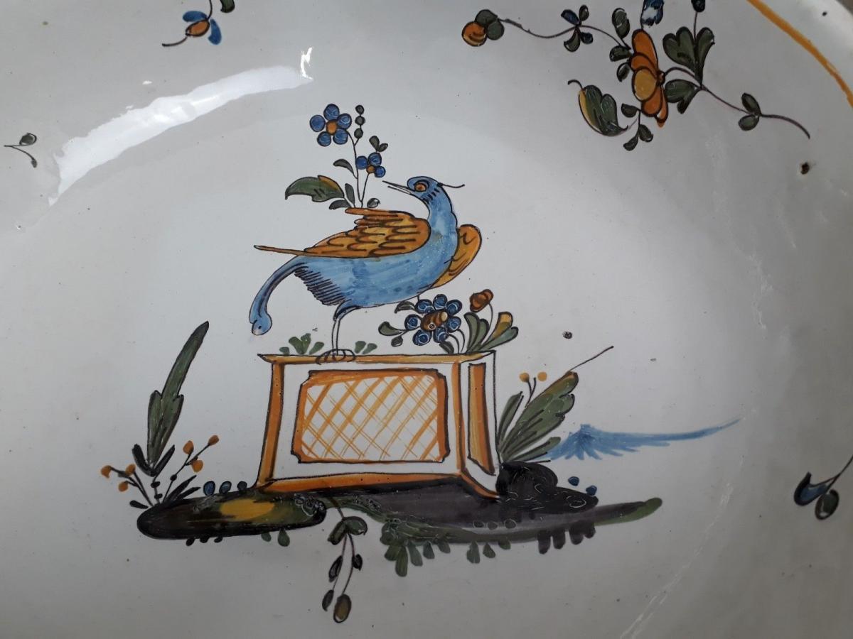 Jatte Saladier En Faïence Polychrome Nevers Décor Oiseau Sur Jardinière XVIIIe-photo-3