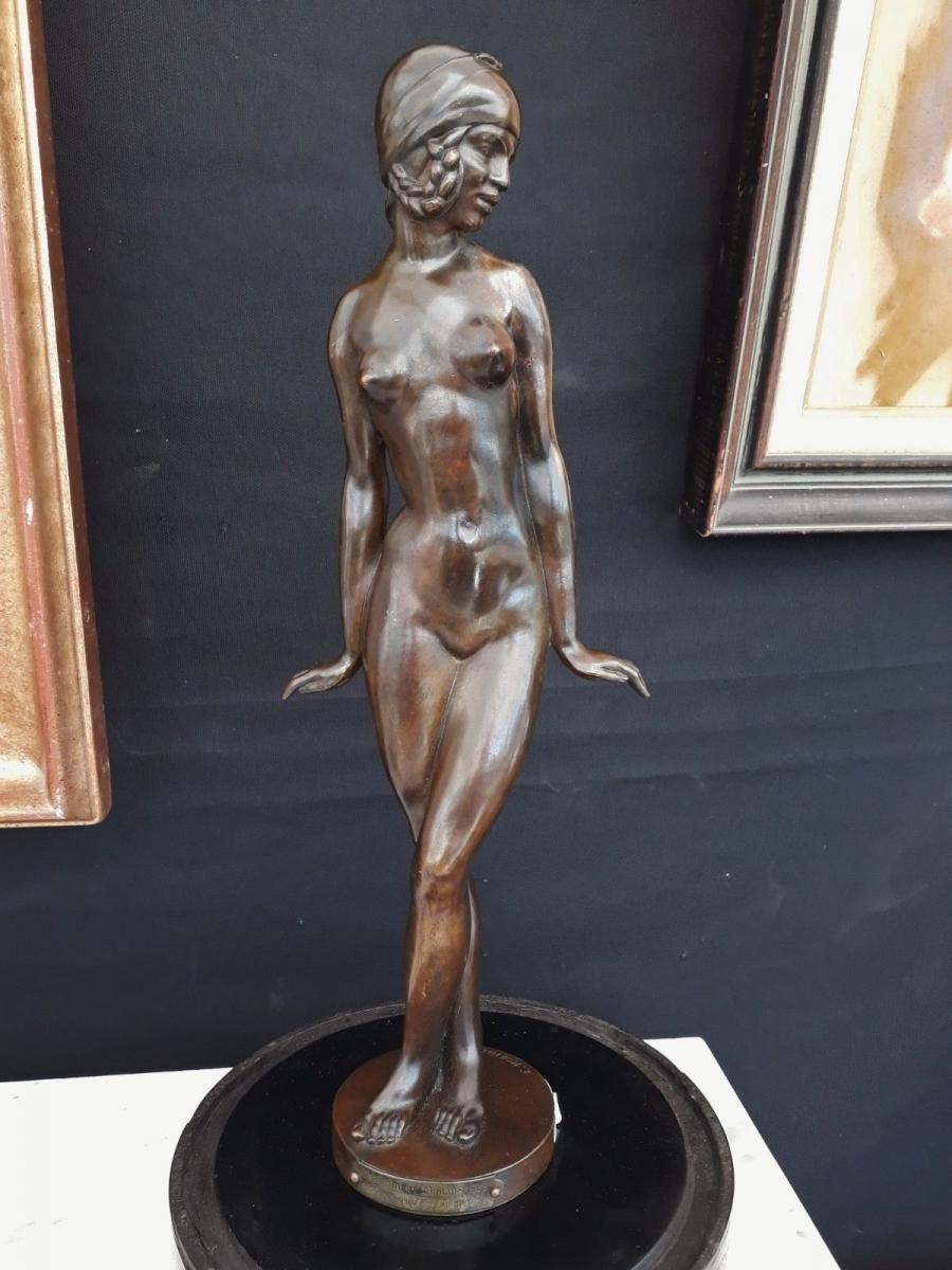 Femme Nue En Bronze E. Popineau Art Déco Trophé Automobile 1938 Dunlop Danseuse deco